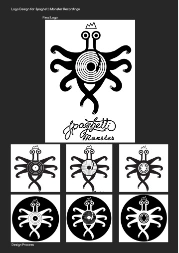 Process of logo design for Spaghetti Monster Recordings // Moscow
